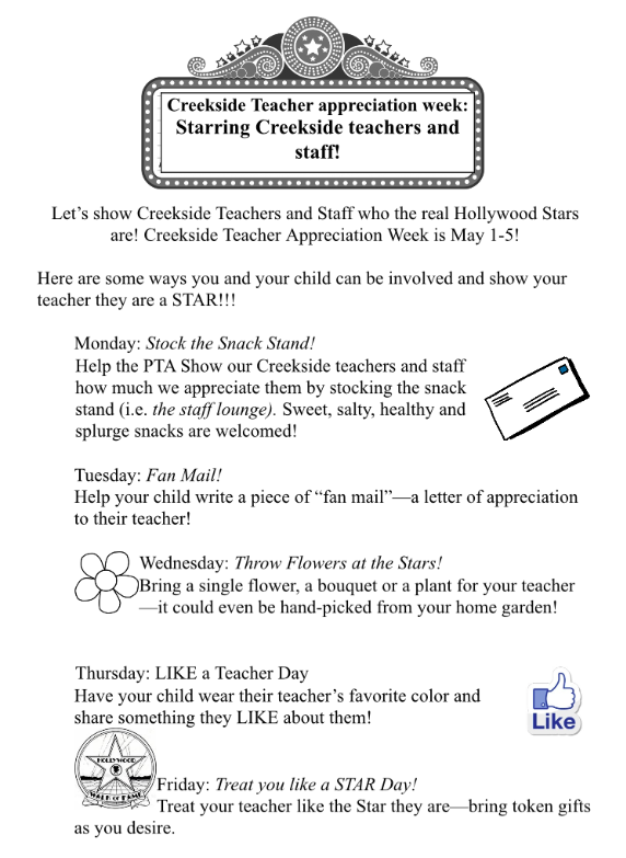 """... in an envelope labeled """"teacher appreciation week"""". We will be doing  daily drawings for these gift cards – our hope is to have enough for each  teacher ..."""